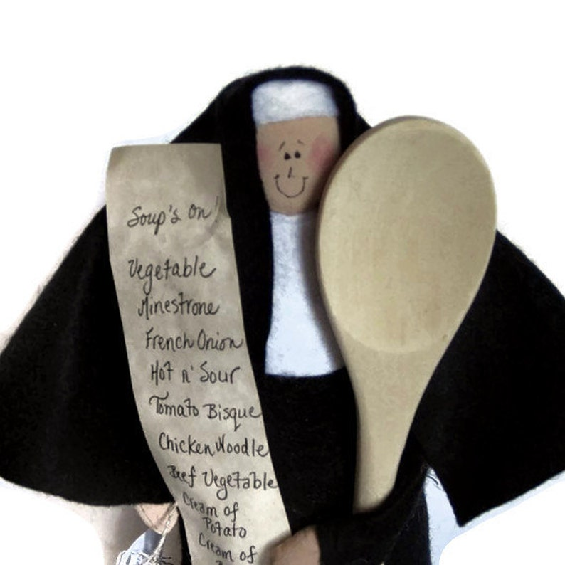 Funny nun doll sister doll gift for cooks kitchen decor image 0