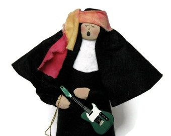 Funny Nun Doll Catholic gift rock-star sister musician -Nuns n Roses