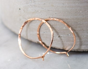 Rose Gold Hoops - Minimalist Earrings - 14k Solid Gold Hoop Earrings - Gift For Her - Sleeper Earrings