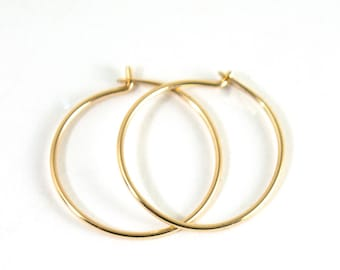 Thin Gold Hoops - Solid Gold Hoop Earrings - 14k Gold Hoops - Minimalist Earrings - Gift For Her - Sleeper Earrings
