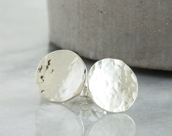 Small Silver Hammered Stud Earrings, Textured Minimalist Earring