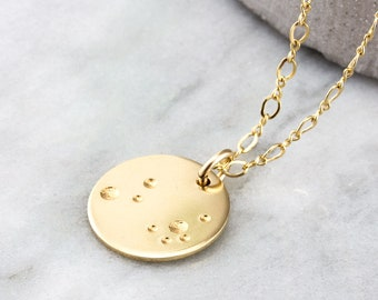 Gold Moon Pendant Necklace - 14k Gold Filled Astronomy Necklace Gift For Her - Gold Circle Necklace