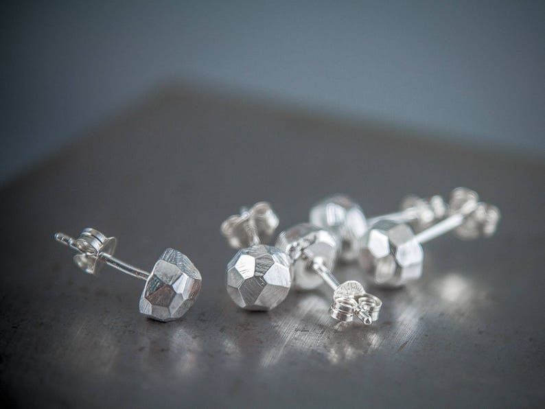 Chunky Silver Nugget Stud Earrings Gift For Him