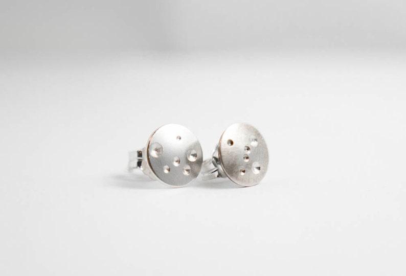 Small Silver Stud Earrings Brushed Silver Stud Earring Silver Moon Earring
