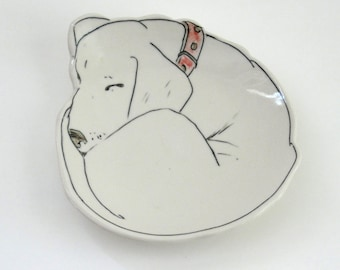 Dessert Plate, Sleeping Pup, Labrador Retriever, Dog, porcelain plate