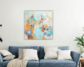 """Gorgeous Geometric Abstract Painting """"Windmills of Change""""  30 x 30 by artist and author Jodi Ohl"""