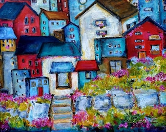 Large, Whimsical, PRINT of fictional homes by the sea.  Available in 2 sizes