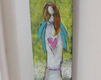 Promise Guardian Angel Original 4 x 12 Art on Wood by Jodi Ohl