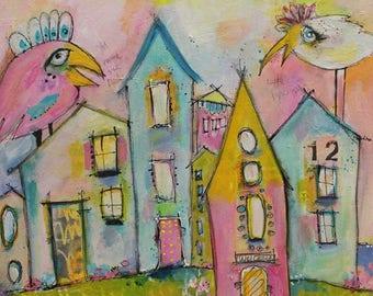 Original Painting, You Make Me Feel Like Dancing 16 x 16 Acrylic on Canvas by Jodi Ohl