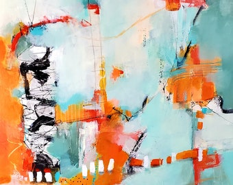 Aqua and Orange Expressive Abstract PRINT for the contemporary home by Jodi Ohl  2 size options