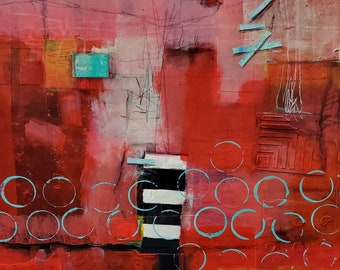 RED abstract collage  print,  for the contemporary home by Jodi Ohl  2 size options