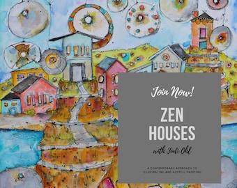 Zen Houses Illustrative  Online Workshop E-Course-acrylic painting class with Jodi Ohl