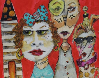 Whimsical Character PRINT for your home by Jodi Ohl  2 size options