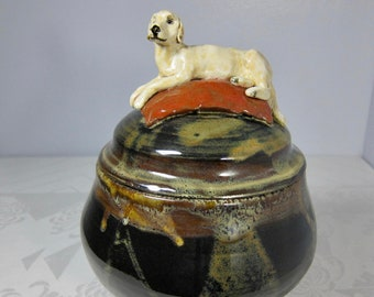 Golden Retriever Urn, Large Handmade Pottery Urn, Cremation Ashes, Keepsake Jar