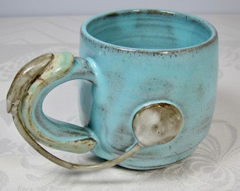 Cochlear Implant Mug - Handmade Stoneware Pottery - Hearing Device - Ready to Ship- Unique