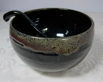 Large Pottery Serving Bowl with Spoon, Black-Red-Blue, Wheel-thrown Stoneware