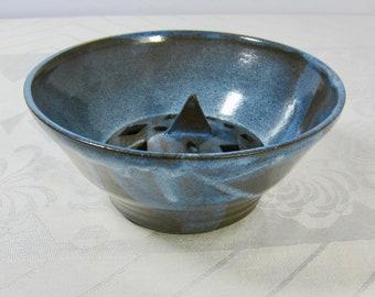 Handmade stoneware berry bowl - Sky Blue Glaze - Triangles, Squares and Oblongs