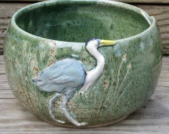 Great Blue Heron Yarn Bowl, Spearmint Green Glaze, Stoneware, Handmade Pottery, Knit or Crochet