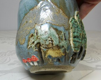 Mountain Scenery Tumbler- Hut, Trees, Mushrooms- Handmade Pottery - Green and Blue - Ceramic Handleless Mug-Unique Ready to Ship