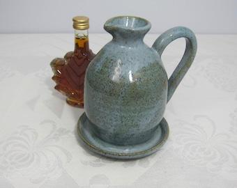 Handmade Pottery Maple Syrup Pitcher -  Blue-Grey Glaze - Wheelthrown