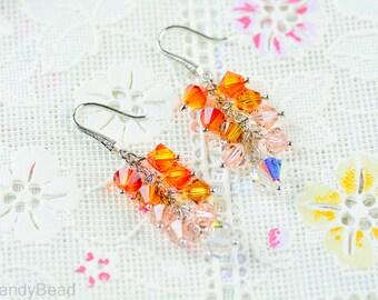 b3dbcca93 Swarovski earrings;crystal earrings; Orange Topaz Swarovski Crystal by  CandyBead