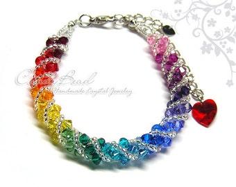 Rainbow bracelet; crystal bracelet; Swarovski bracelet; Glass bracelet;Spectrum rainbow twisty Swarovski Crystal Bracelet by CandyBead