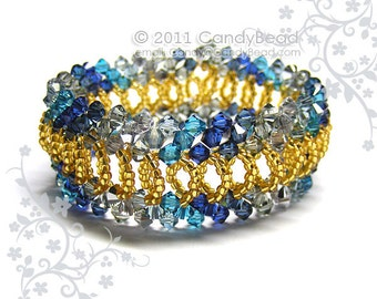 Size 7 to 8 1/2 inches; Gold Navy Blue Splendid Swarovski Crystal Cuff Bracelet with Gold toggle clasp by CandyBead