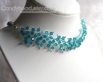 Crystal Necklace; Swarovski Necklace; Glass Necklace; Sweet Blue Zircon Multiflora Swarovski Crystals Necklace by CandyBead