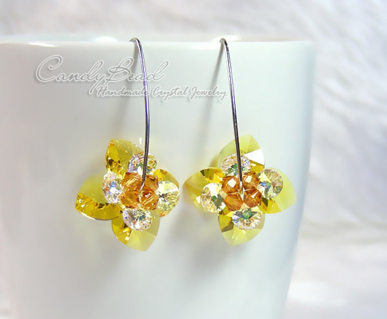 ef9fb66d2 Swarovski earringscrystal earrings Flower Heart Swarovski | Etsy