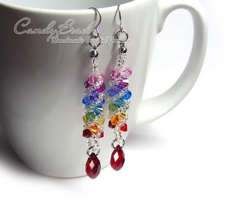 cf6e18b27 Swarovski earringscrystal earrings Spectrum rainbow twisty | Etsy