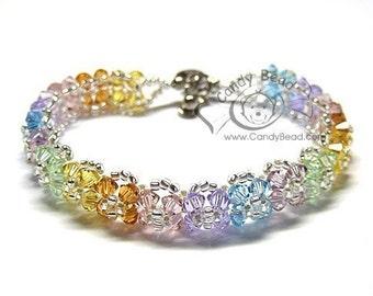 Crystal Bracelet; Swarovski Bracelet; Glass Bracelet; Sweet Floral with Sweet Colors Bracelet
