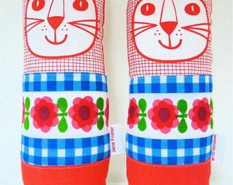 Original 70s fabric handmade cat toy plush softie by Jane Foster