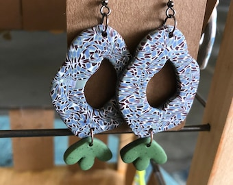 Stained Glass Polymer Clay Dangle Earrings