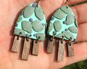 Mint Chocolate Chip Arches Polymer Clay Dangle Earrings