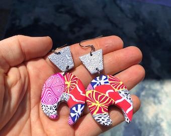 Funky Boss Polymer Clay Dangle Earrings