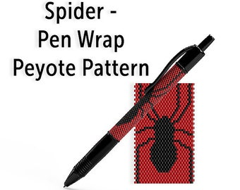 Beaded Pen Wrap Pattern, Even Count Peyote Seed Bead Tutorial, Instant Download PDF, Spider