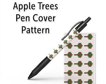 Peyote Pen Cover Pattern, Even Count Seed Bead Pen Wrap Tutorial, Instant Download PDF, Apple Trees