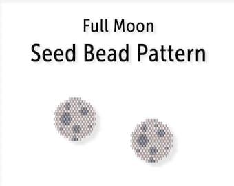 Beaded Earring Pattern, Brick Stitch Seed Bead Tutorial, Full Moon