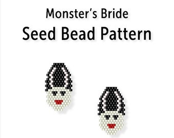 Beaded Earring Pattern, Brick Stitch Seed Bead Tutorial, Monster's Bride