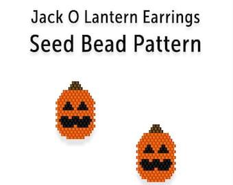 Beaded Earring Pattern, Brick Stitch Seed Bead Tutorial, Jack O Lantern
