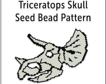 Beaded Pendant Pattern, Brick Stitch Seed Bead Tutorial, Instant Download PDF, Triceratops Skull