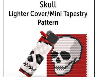 Peyote Lighter Cover Pattern, Even Count Seed Bead Mini Tapestry Tutorial, Instant Download PDF, Skull