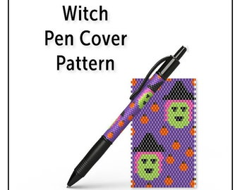 Beaded Pen Wrap Pattern, Even Count Peyote Seed Bead Pen Cover Tutorial, Instant Download PDF, Witch