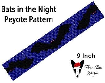 Bats in the Night Seed Bead Bracelet Pattern, Spooky Two Drop Even Count Peyote Tutorial, Halloween Beaded Bookmark, Instant Download PDF