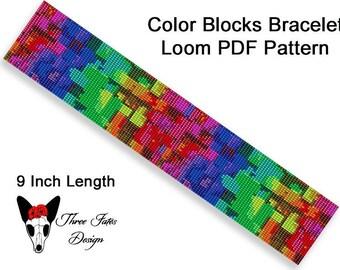 Beaded Bracelet Pattern, Loom or Square Stitch Tutorial, Instant Download PDF, Color Blocks