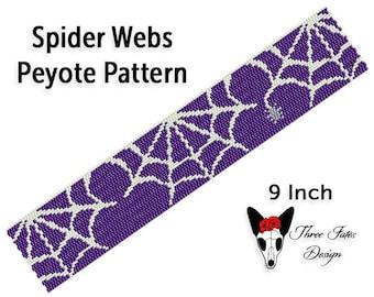 Peyote Bracelet Pattern, Spooky Two Drop Even Count Seed Bead Tutorial, Beadwork Bookmark, Instant Download PDF, Spider Web
