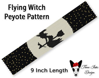 Seed Bead Bracelet Pattern, Halloween Even Count Peyote Stitch Beadwork Tutorial, Spooky Cuff Pattern, Instant Download PDF, Flying Witch