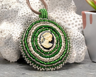 Embroidered, Green, Cameo Necklace, Bead Embroidery, Seed Bead Necklace, Beaded Necklace, Embroidery, Modern Embroidery