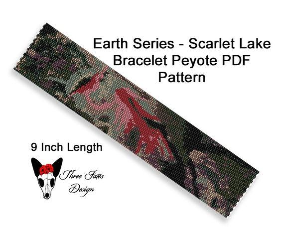 Peyote Bracelet Pattern, Earth Series - Scarlet Lake, Two Drop Even Count  Seed Bead Tutorial