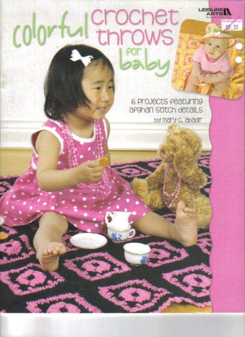 Colorful Crochet Throws For Baby ~  Crochet soft cover book ~  Leisure Arts